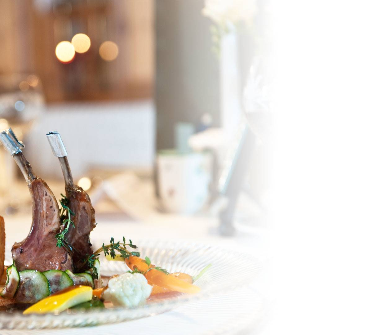 Leg of lamb with side dishes in detail